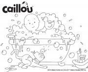 bain moussant avec caillou et ses jouets dessin à colorier