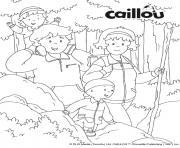randonnee automne avec la famille caillou dessin à colorier