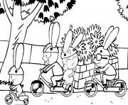 simon et ses amis font du velo dessin à colorier