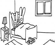 simon dans son lit le temps de dormir dessin à colorier