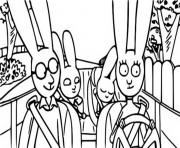 simon et sa famille dans la voiture en direction de paris dessin à colorier