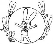simon le lapin et ses amis lapins dessin à colorier