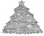 arbre de noel mandala pour adulte anti stress et boules de noel dessin à colorier