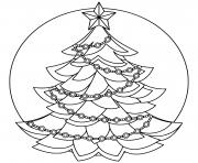 joyeux temps des fetes avec ce sapin avec decorations simple dessin à colorier