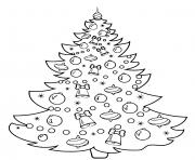 arbre de noel avec desboules cloches et girlandes de noel dessin à colorier