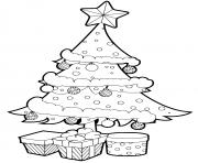 jolie sapin de noel decore avec des boules de noel et des cadeaux au pied du sapin dessin à colorier
