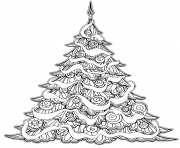 luxueux arbre de noel avec decorations dessin à colorier