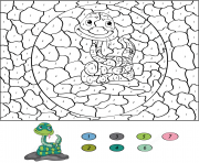 un serpent du desert par numero dessin à colorier