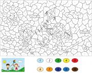 des enfants jouent au parc par numero dessin à colorier