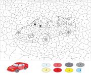 voiture de course par numero dessin à colorier