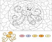 animal marin pieuvre par numero dessin à colorier