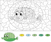 posson pufferfish magique par numero dessin à colorier