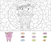 petit cochon animal de la ferme par numero dessin à colorier
