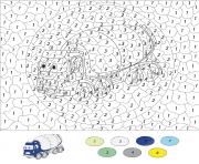 camion de construction par numero dessin à colorier