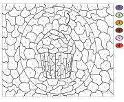 cupcake gateau avec cerise par numero dessin à colorier