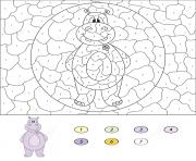 hippopotame animal par numero dessin à colorier