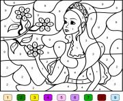 princesse barbie pour fille par numero dessin à colorier