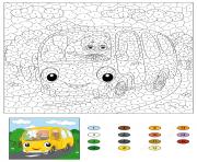 autobus scolaire avec un conducteur par numero dessin à colorier