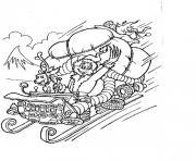 le grinch en pleine vitesse avec son traineau de noel et son chien dessin à colorier