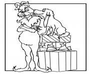 grinch et son adorable chien qui lui donne de lamour dessin à colorier