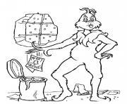 grinch jette une carte de voeux noel a la poubelle dessin à colorier