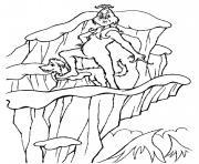 grinch sur une montagne avec son chien dessin à colorier