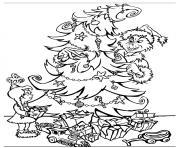 le pere noel grinch derriere le sapin de cindy dessin à colorier