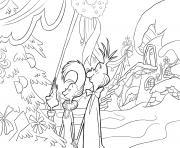 la famille grinch devant un sapin de noel dessin à colorier