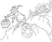 Grinch donne les cadeaux aux enfants dessin à colorier