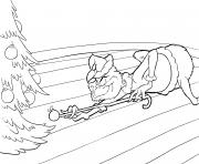 Grinch joue au billard avec une boule de noel sous le sapin dessin à colorier