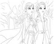 elsa et anna la reine et princesse des neiges 2 dessin à colorier