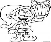 lutin avec un cadeau de noel dessin à colorier