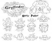 harry potter gryffindor personnages kawaii dessin à colorier