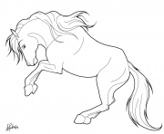 cheval qui se cabre dessin à colorier