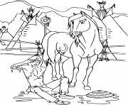 Coloriage cheval spirit etalon des plaines  film animation dessin