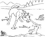 Coloriage cheval spirit se rafraichit dans le lac dessin