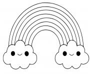 arc en ciel avec nuages dessin à colorier