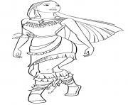 Princesse Pocahontas fille du chef Powhatan Disney 1995 dessin à colorier