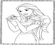 Pocahontas de la tradition Powhatan dessin à colorier