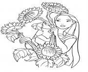 Pocahontas adire les fleurs dessin à colorier