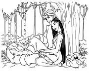 Pocahontas et jhon rolfe dessin à colorier