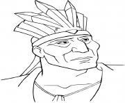 Pocahontas Chef Amerindien dessin à colorier