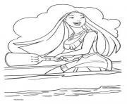 Pocahontas sur la mer et navigue dessin à colorier