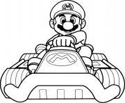 mario bros pret pour la course de voiture de sport dessin à colorier
