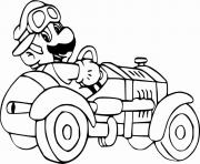 super mario bro voiture de course dessin à colorier