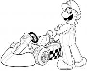 luigi super mario bros voiture de course F1 dessin à colorier
