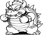 bowser en mode defense contre super mario bros dessin à colorier