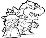 bowser et princesse peach dessin à colorier