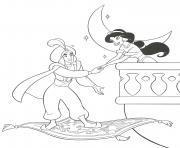 Aladin vient chercher Princesse JAsmine dessin à colorier