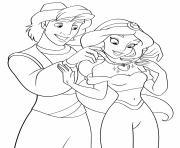 Aladdin offre un bijou pour Jasmine dessin à colorier